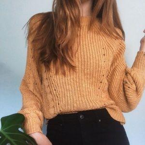 AE Crewneck Knit Balloon Sleeve Sweater Mustard